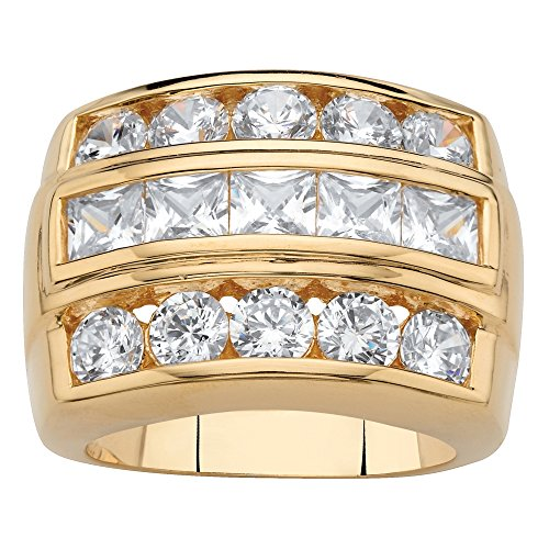 Men's 18K Yellow Gold-plated Square Cut Cubic Zirconia Channel Set Step Ring Size 8 Diamonique Channel Set
