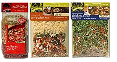 Frontier Soups 100% Natural Homemade In Minutes Gluten-Free Soups 3 Flavor Variety Bundle: (1) Louisiana Red Bean Gumbo, (1) WY Fireside Beef Goulash and (1) KY Homestead Chicken & Rice, 4.5-15 Oz Ea