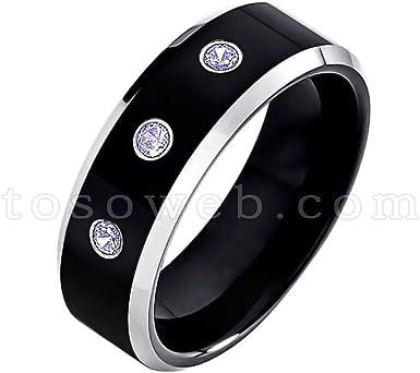 Men/'s December Birthstone Ring Tanzanite Wedding Band 9mm Brushed Center Beveled Edge Tungsten Carbide Ring TS0232