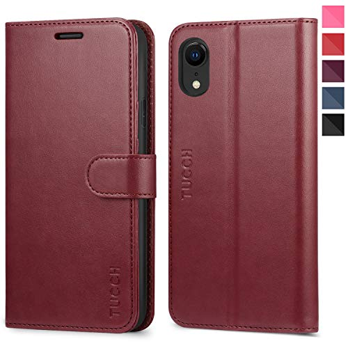 iPhone XR Case, iPhone XR Wallet Case, TUCCH PU Leather Flip Folio Case [RFID Blocking][Kickstand] Credit Card Slots, Slim Book Cover, [Wireless Charging] Compatible with iPhone XR(6.1 inch) - Red