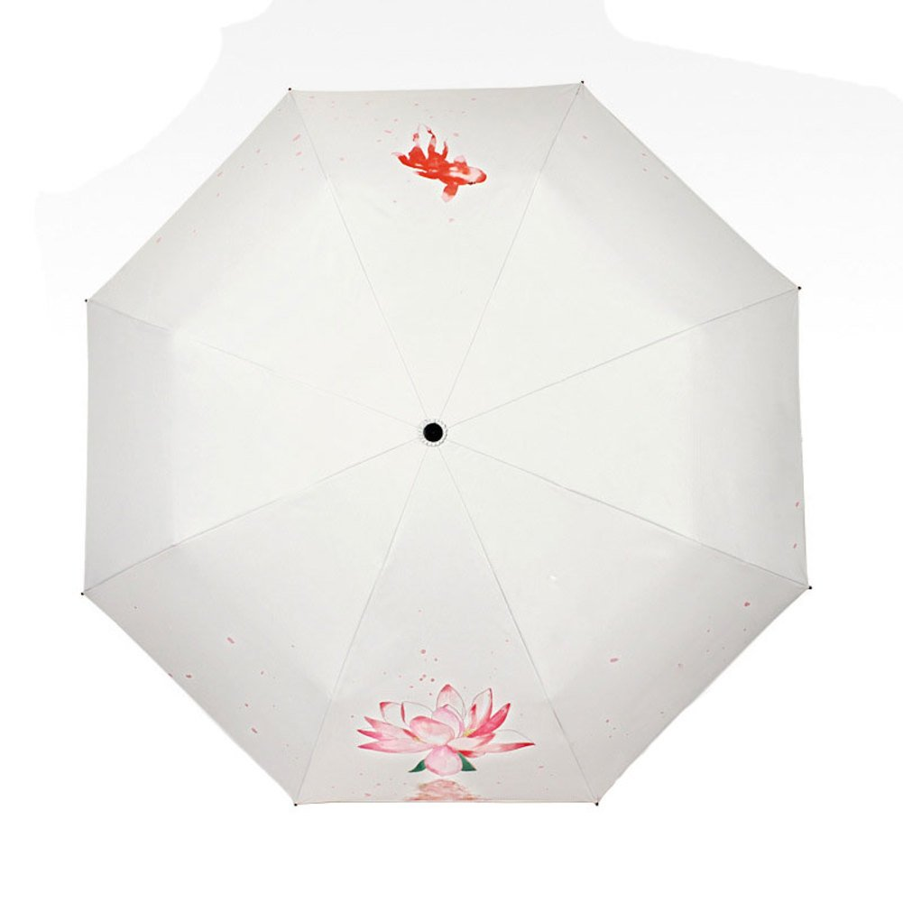Fish & Water Lily Fine Art Compact Windproof Travel Umbrella with UV Protection