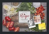 PinPix decorative pin cork bulletin board made from canvas, Recipe Board with Chopped Vegetables 18x12 Inches (Completed Size) and framed in Satin Black (PinPix-Group-36)