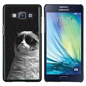 Stuss Case / Funda Carcasa protectora - Gato gruñón Negro Blanco siamés Bigotes - Samsung Galaxy A5 ( A5000 ) 2014 Version