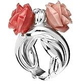 Rose Haylland Bague fleur César en argent 925, résine, rouge, 15.7g ... ee59d1fed116