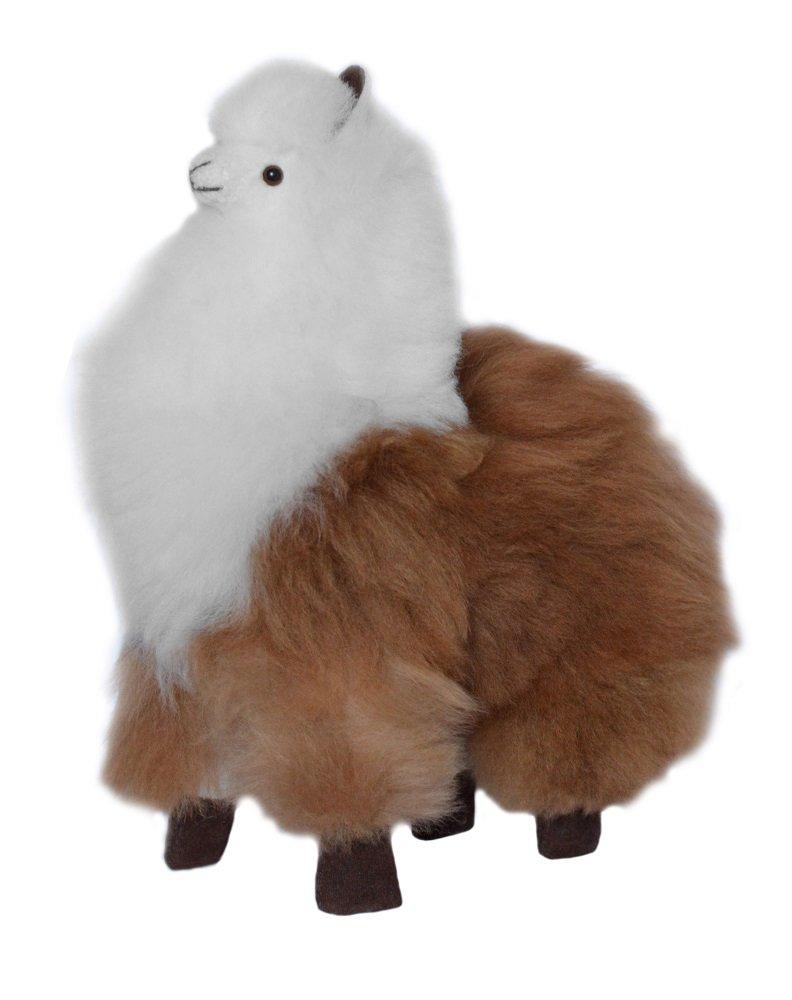 9 inch 9 Inch Brown and White Alpaca Fur Toy Handmade on Genuine Baby Alpaca Wool Stuffed Animals