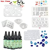 Frenshion 5 Pieces 30ML Crystal Epoxy Resin UV Glue, 9Pcs Transparant Silicone Mould Resin Craft Mould Tools Nail Art Tools For Handcraft Jewelry Earrings Necklace Bracelet Nail Art Accessories