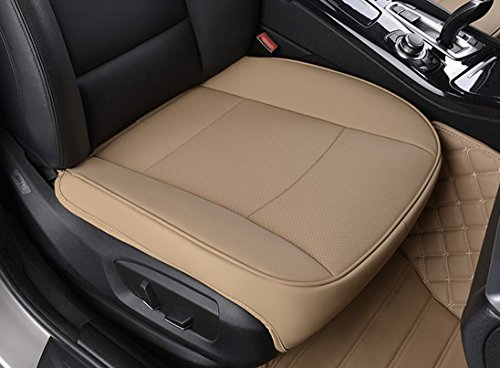 EDEALYN Ultra-luxury PU leather Car seat protection car seat cover For Most Four-door sedan & SUV ,Single seat without backrest 1pcs (W 20.5''× L21'') (3D - Tan) (Leather Seat)