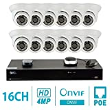 GW Security 16CH H.265 4K NVR 4-Megapixel (2592 x 1520) Plug & Play Security Camera System, 12pcs 4MP 1520p 3.6mm Wide Angle POE Weatherproof Dome IP Cameras, 80ft Night Vision
