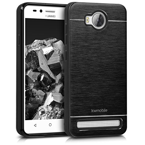 kwmobile Case for Huawei Y3 II (2016) - Durable Shockproof Aluminum Protective Smartphone Back Cover - Black
