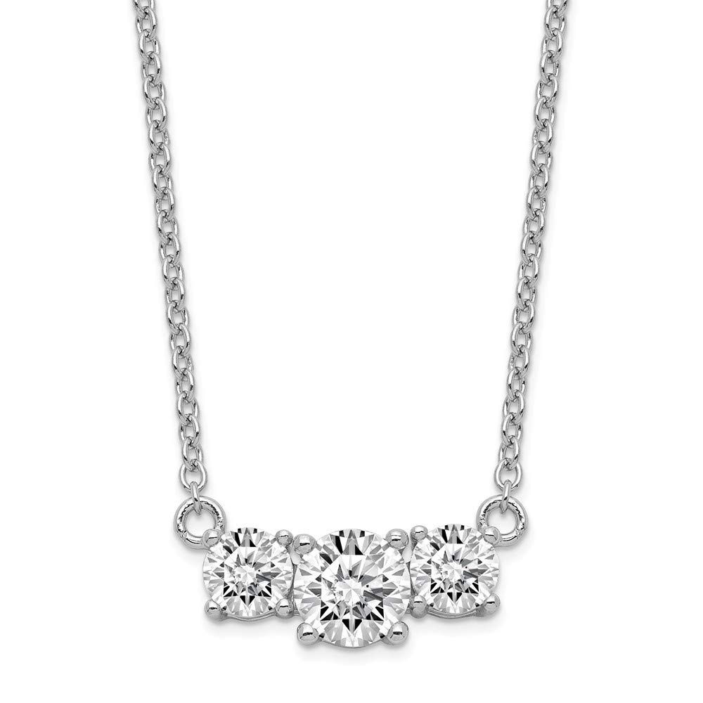 Necklace 16.5 Inches Sterling Silver /& CZ 16.5In 3 Stone 1In Ext