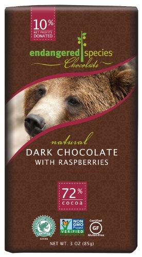 (Endangered Species, Bar Dark Chocolate Raspberries Bear, 3 Ounce)