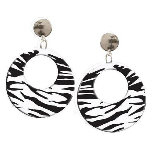 Forum Novelties Clip on Earrings Zebra White- Set of 2