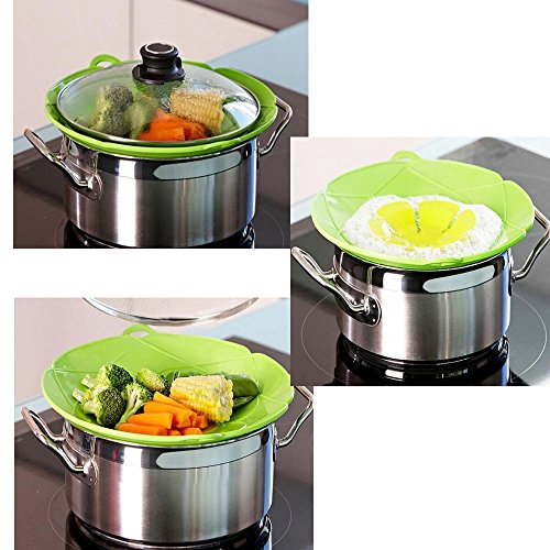 (Set of 2) Silicone Spill Stopper Lid Cover and Spill Stopper, Boil Over Safeguard,Heat-Resistant Multi-functional Kitchen Accessories Cooking Tools Cookware Part
