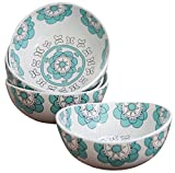Porcelain Bowl Set 4 for Soup Cereal Rice, Hand Made Floral Pattern Decorative Bowls, Mint Blue