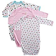 Luvable Friends Unisex 3 Pack Cotton Gown, Pink Cake, 0-6 Months