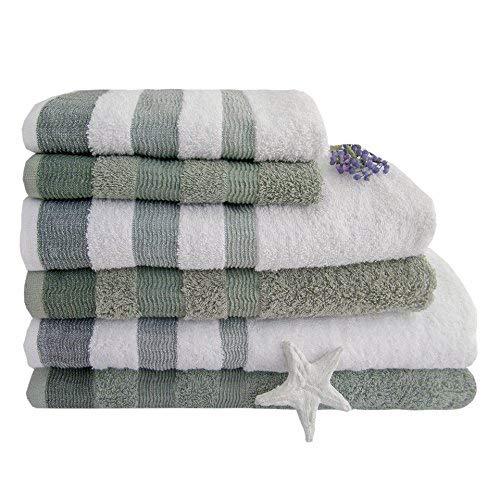 2 opinioni per KUTEX Set di 6 Asciugamani 100% Cotone 550 Grammi con Bordo colorato/ 2 Teli