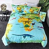 Sleepwish Dinosaur Duvet Cover World Map with Dinosaurs Bedding 3 Pieces Boy Dinosaur Lover Bedroom Set Kids Bed Linen ?Twin?