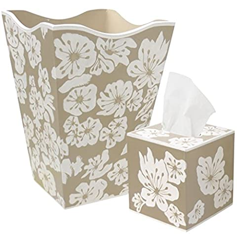 Allen G Designs Hand Painted Wooden Wastebasket and Tissue Box Set - Lace Floral Design - Hand Painted Wooden Box