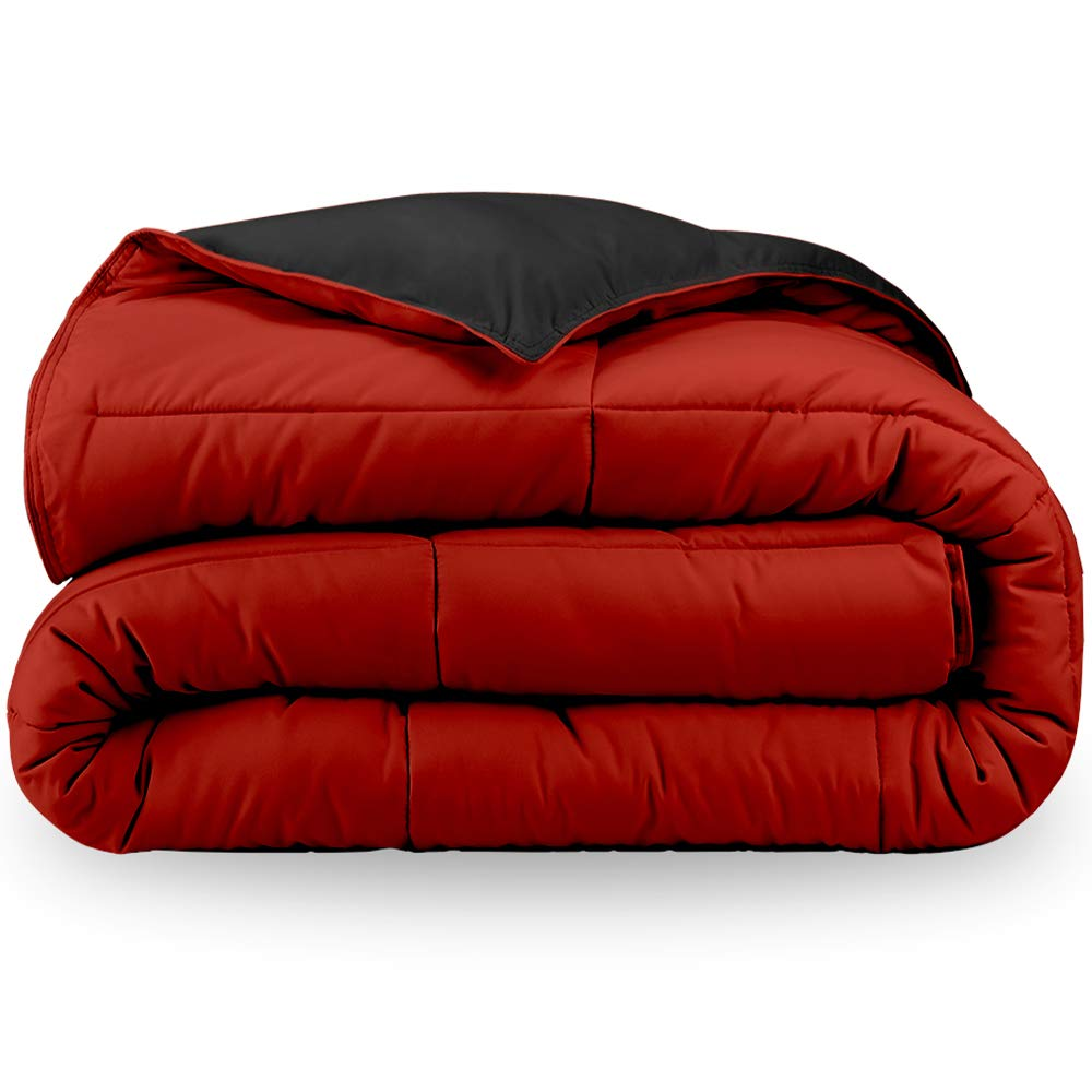 Bare Home Reversible Comforter - Twin/Twin Extra Long - Goose Down Alternative - Ultra-Soft - Premium 1800 Series - Hypoallergenic - All Season Breathable Warmth (Twin/Twin XL, Black/Red)