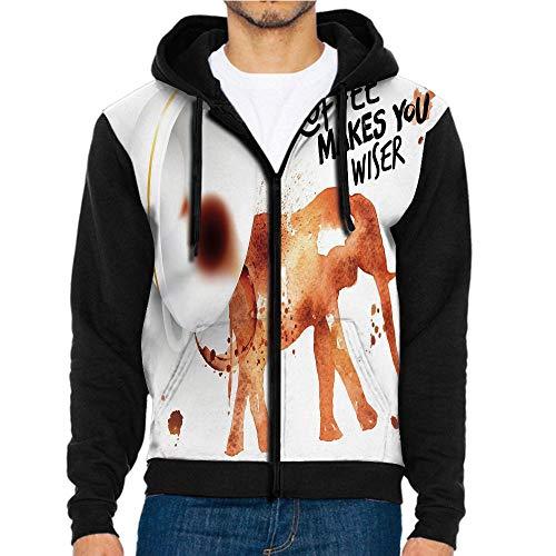 3D Printed Hoodie Sweatshirts,Elephant Espresso Stains Burnt,Hoodie Casual Pocket Sweatshirt