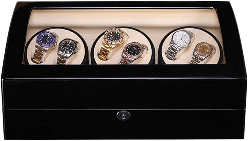 AMITD - Caja con movimiento para relojes, acabado de madera de piano con interior de piel sintética, 8 compartimentos para guardar relojes: Amazon.es: Hogar