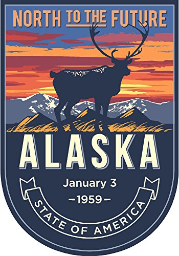 State animal Alaska night 4x5.5 inches sticker decal die cut vinyl - Made and Shipped in -