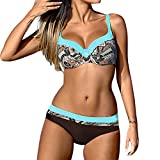 St.Dona Womens Sexy Padded Bikini with Underwire Push up Triangle Top Splicing Color...