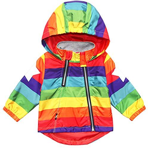 Little Kids Zipper Hooded Jacket Rainbow Color Striped Hooded Zipper Coats for Kids Baby Windbreaker Outerwear Unisex Coat 3T