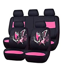 NEW ARRIVAL- CAR PASS 11PCS Insparation Universal Seat Covers Set Package-Universal fit for Vehicles,Cars With 5mm Composite Sponge Inside,Airbag Compatiable (Black with pink color)