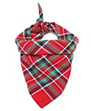 """Freezx Dog Cat Bandanna Bibs Triangle Scarf - 100% Cotton Cute Fashion Accessories - for Small Medium Large Dogs Cats (18.2""""x18.2""""x27.2"""", Red-Green)"""