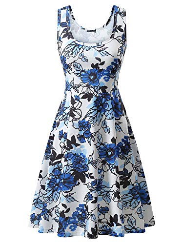 FENSACE Blue Floral Dress Sleeveless Bohemian Fit and Flare Work Dress
