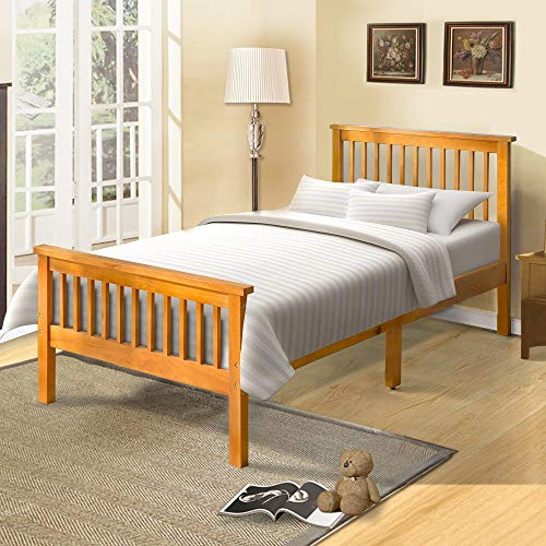 Platform Twin Bed Frame Wood with Headboard and Footboard, Oak Finish Solid Wood Single Bed Frame with Wood Slat Support by Harper&Bright Designs