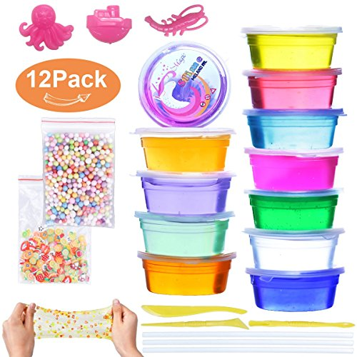Meland Clear Crystal Slime Kit 12 PCS 22.5 OZ Slime Toy Pack Crystal Putty Soft Jelly Clay Mud Stress Reducer Toy for Kids and Adults, Models and Straws Included, 12 Colors by Meland