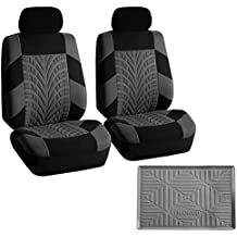 FH GROUP FB071102 Travel Master Seat Covers Pair Set Airbag Ready, Gray/ Black w.FH3011 Silicone Anti-slip Dash Mat - Fit Most Car, Truck, Suv, or Van