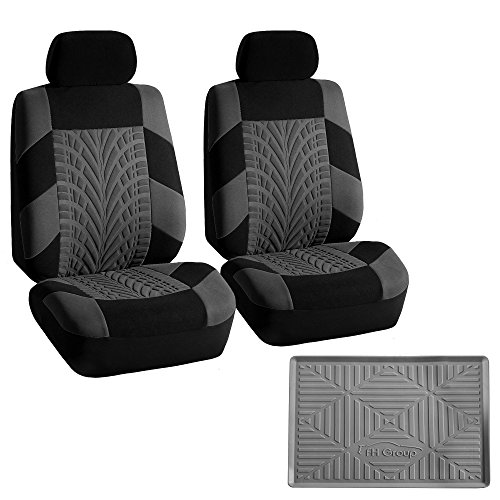 (FH GROUP FB071102 Travel Master Seat Covers Pair Set Airbag Ready, Gray/ Black w.FH3011 Silicone Anti-slip Dash Mat - Fit Most Car, Truck, Suv, or Van)
