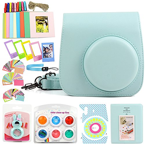 WOGOZAN Compatible Fujifilm Instax Mini 9 Mini 8 Instant Film Camera Leather Case Suit with Case, Album, Filters and Other 6 Accessories 9 Items for Fujifilm Instax Mini 9 8 ( Ice Blue Color Kit)