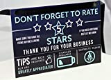 Uber Lyft Tip and Rating Sign for Rideshare Drivers 5x8 inches