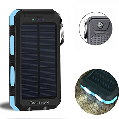 Solar Power Bank 20000mAh, Solar Charger Waterproof Portable External Backup Outdoor Cell Phone Battery Charger with Dual LED Flashlights,Solar Panel for iPhone,Android Cellphones (Black & Blue)
