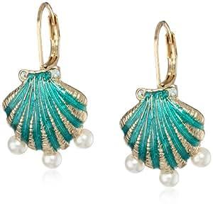 "Betsey Johnson ""Jewels of the Sea"" Sea Shell Drop Earrings"