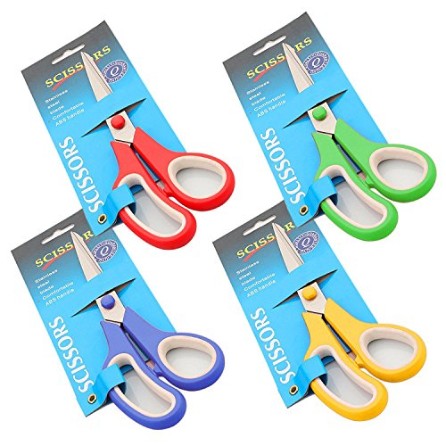 "Wisehands Multipurpose 9.5"" Stainless Steel Scissors Pack - Big Size- Precise Cut with Sharp Blades Colorful Scissors for Kitchen Office Crafting -Red, Blue, Yellow, Green- Pack of 4"