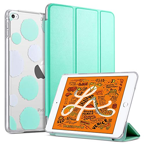 ULAK iPad Mini 4 Case, iPad Mini 5 Case Clear with Design, Slim Lightweight Trifold Stand with Translucent Frosted Back Smart Cover for iPad Mini 5th Generation 2019/Mini 4 Auto Sleep/Wake, Mint