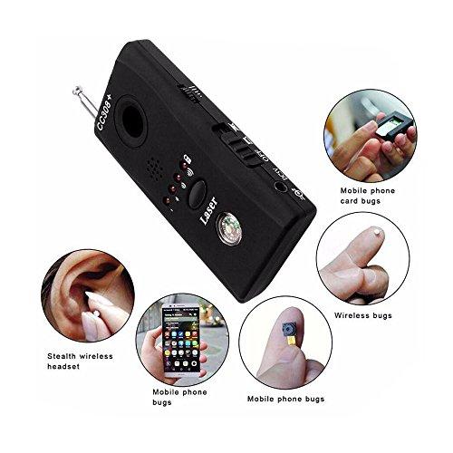 Hangang Wireless Detector for Hidden Camera, Lens Detector Adjustable Detection Sensitivity Signal Bug RF Finder GSM Voice Device (Black-RF)