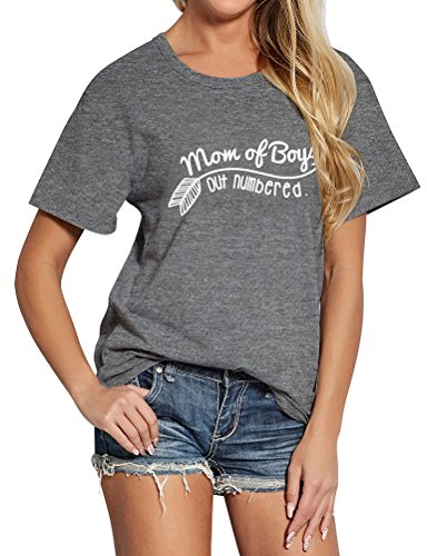 Mom T-shirt (SCX Women Fashion Letter Print Short Sleeve Mom Of Boys Out Numbered T-Shirt Loose Grey Tee)