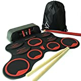 MINIARTIS Roll Up Drum Kit –''Bass Gen'' Portable Electronic Drum Pad Set with Built-In Speakers, Headphone Jack, Red Drum Sticks & Carry Case Included, Foldable with Record Functions
