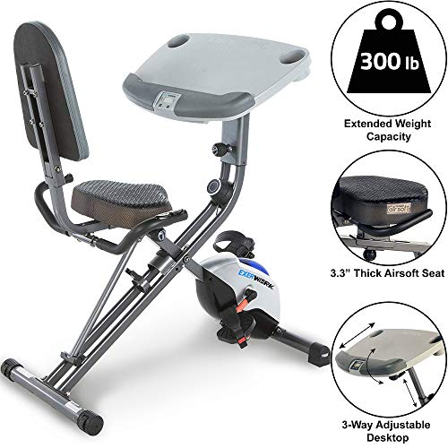 Exerpeutic ExerWorK 1000 Fully Adjustable Desk Folding Exercise Bike with Pulse ()