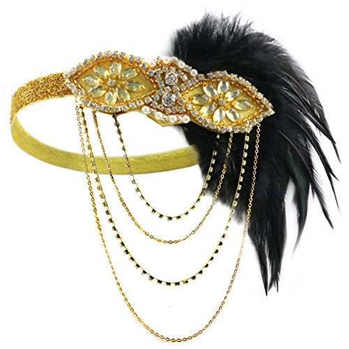 HAMIST 1920 Headpiece - 1920S Accessories Women Vintage Feather Headband Flapper Costume (Gold)