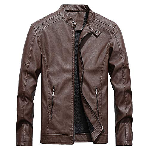 Coat, Winter Coats for Men, Fashion Men's Autumn Winter Casual Pocket Button Thermal Leather Jacket Top Coat