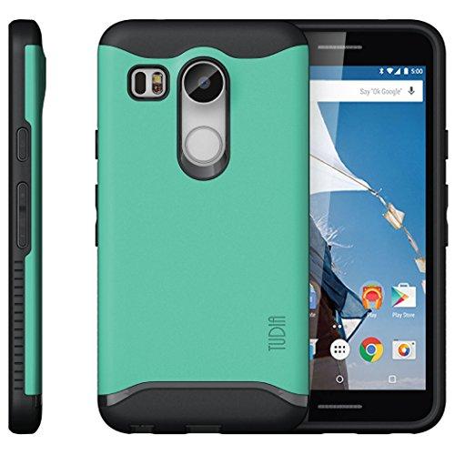 Nexus 5X Funda, Caja protectora TUDIA Slim-Fit MERGE de doble capa para Nexus 5X (2015) (Negro Mate) Menta