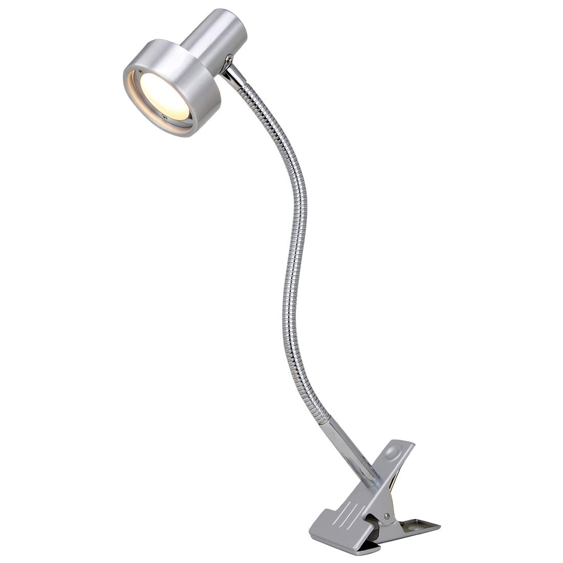 O'Bright LED Clip on Light for Bed Headboard/Desk, Dimmable LED Desk Lamp with Metal Clamp, 5W LED, Flexible Gooseneck, Adjustable Brightness for Eye-Care Reading, Vintage Design (Aluminum)