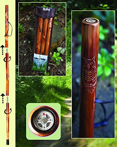 Manual Woodworker Owl Take A Hike Compass Folding Walking Stick with Travel Pouch - 48 In. Long,Multicolor
